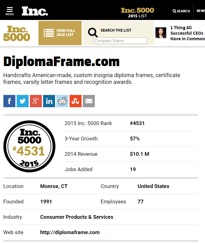 Diplomaframe.com makes the Inc 5000 list for the 9th time