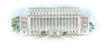 Eglomise image of Butler Library at Columbia University