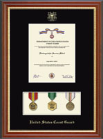 United States Coast Guard Medal Display Certificate Frame in Newport with Black Mat