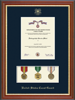 United States Coast Guard Medal Display Certificate Frame in Newport with Navy Mat