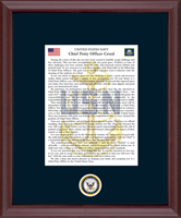 The Chief Petty Officer Creed in Cambridge with Navy Mat