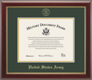 United States Army Gold Embossed Certificate Frame in Gallery with Williamsburg green mats