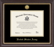 United States Army Gold Engraved Medallion Certificate Frame in Hampshire with Black and Gold Mats