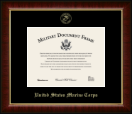 United States Marine Corps Gold Embossed Certificate Frame in Murano with Black Mats