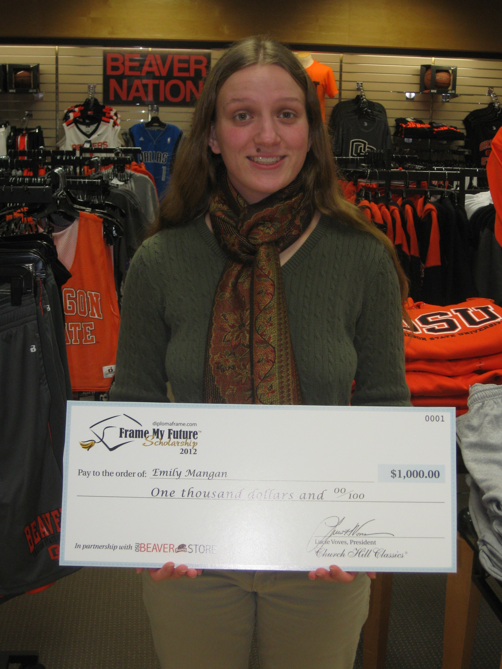 Emily Mangan Frame My Future 2013 Winner with Presentation Check