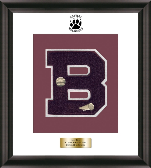 varsity letter frame with pins