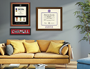 dimensions diploma frame on display in living room