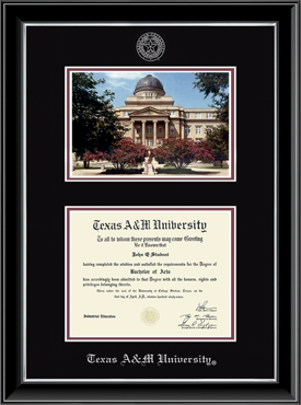campus scene texas am university diploma frame