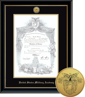 Engraved Medallion United States Military Academy Diploma Frame