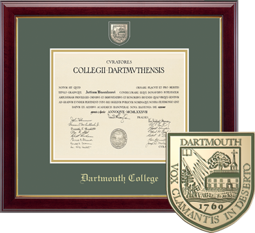 Masterpiece Medallion Dartmouth College Diploma Frame