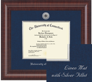 University of Connecticut - Presidential Silver Engraved Diploma Frame
