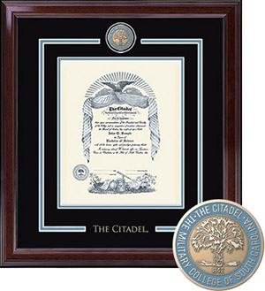 The Citadel Showcase Diploma Frame