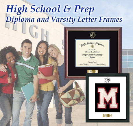 High School and Preparatory School Diploma Frame and Varsity Letter Frame