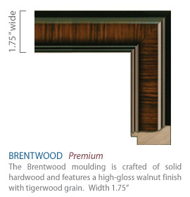 Brentwood Moulding - high-gloss walnut finish with a tigerwood grain
