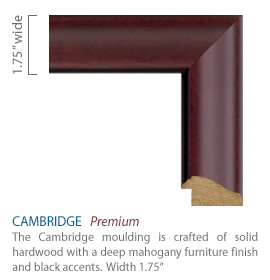 Cambridge Moulding - deep mahogany furniture finish with black accents