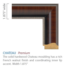 Chateau Moulding - French walnut finish with a two-toned lip