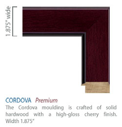 Cordova moulding - distinctive high-glass cherry finish