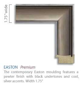 Easton Moulding - pewter finish with black undertones and cool silver accents