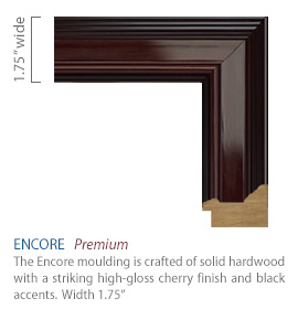 Encore Moulding - high-gloss cherry finish with black accents