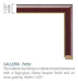 Galleria Moulding - high-gloss cherry lacquer finish with a gold inner lip