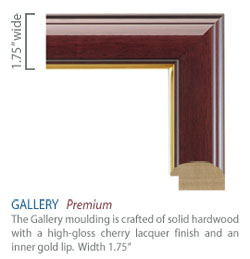 Gallery Moulding - high-gloss cherry lacquer finish with a gold lip