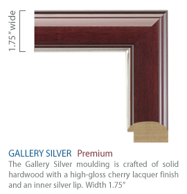 Gallery Silver - high-gloss cherry finish with a silver lip