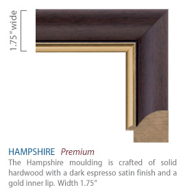 Hampshire Moulding - dark espresso satin finish and a gold inner lip