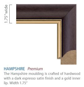 Hampshire Moulding - dark espresso satin finish with a gold inner lip