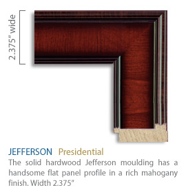 Jefferson Moulding - handsome flat panel profile in a rich mahogany finish