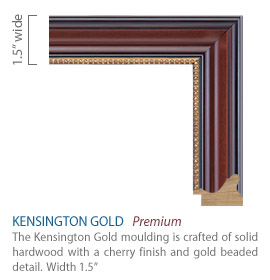 Kensington Gold Moudling - cherry satin finish with gold beaded detail