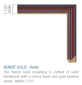 Kensit Gold Moulding - hardwood with a cherry finish and gold beaded detail