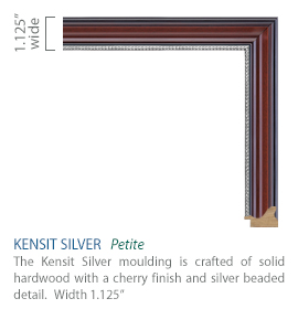 Kensit Silver Moulding - solid hardwood with a cherry finish and silver beaded detail