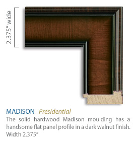 Madison Moulding - handsome flat panel profile with a transverse grain in a dark walnut finish