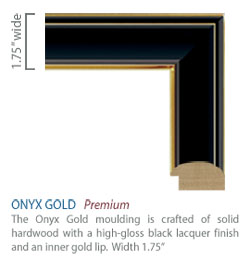 Onyx Gold Moulding - Black high-glass finish with sleek gold accents