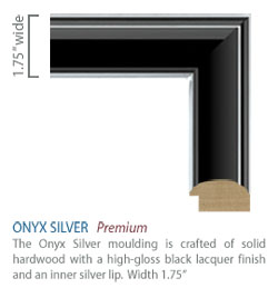 Onyx Silver Moulding - black high-gloss finish with sleek silver accents