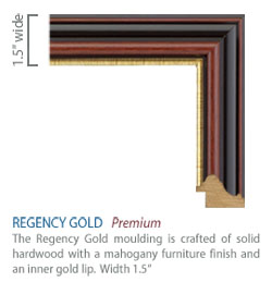 Regency Gold Moulding - traditional mahogany furniture finish with a gold lip