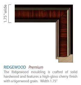 Ridgewood Moulding - high-gloss cherry finish with a tigerwood grain