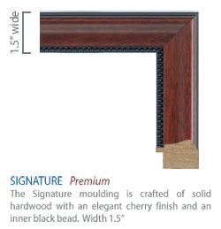 Signature Moulding - cherry finish with an inner black bead