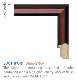 Southport Moulding - high-gloss cherry lacquer with black accents