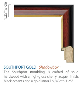 Southport Gold Moulding - high gloss cherry lacquer finish, black accents and gold inner lip