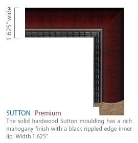 Sutton Moulding - rich mahogany finish with black rippled edge inner lip