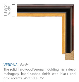 Verona Moulding - deep mahogany hand-rubbed finish with black and gold accents