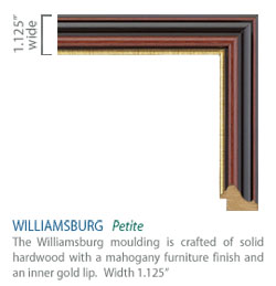 Williamsburg Moulding - traditional mahogany furniture finish with a gold lip