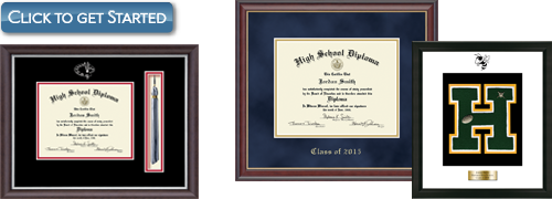 Design your high school diploma frame or varsity letter frame. Click to get started!