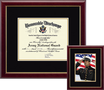 army national guard document and photo frames military double document frame
