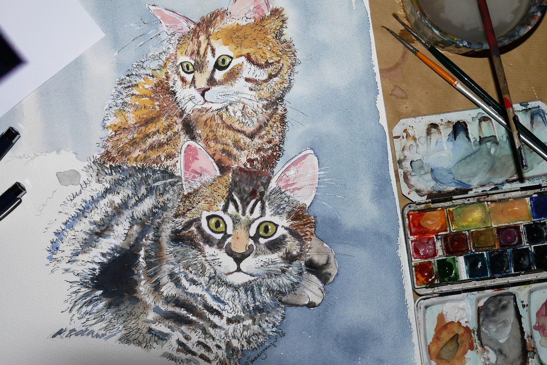 painted photo of cats