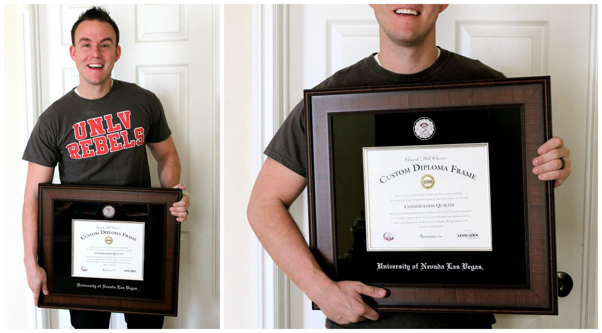 man holding unlv diploma frame from church hill classics