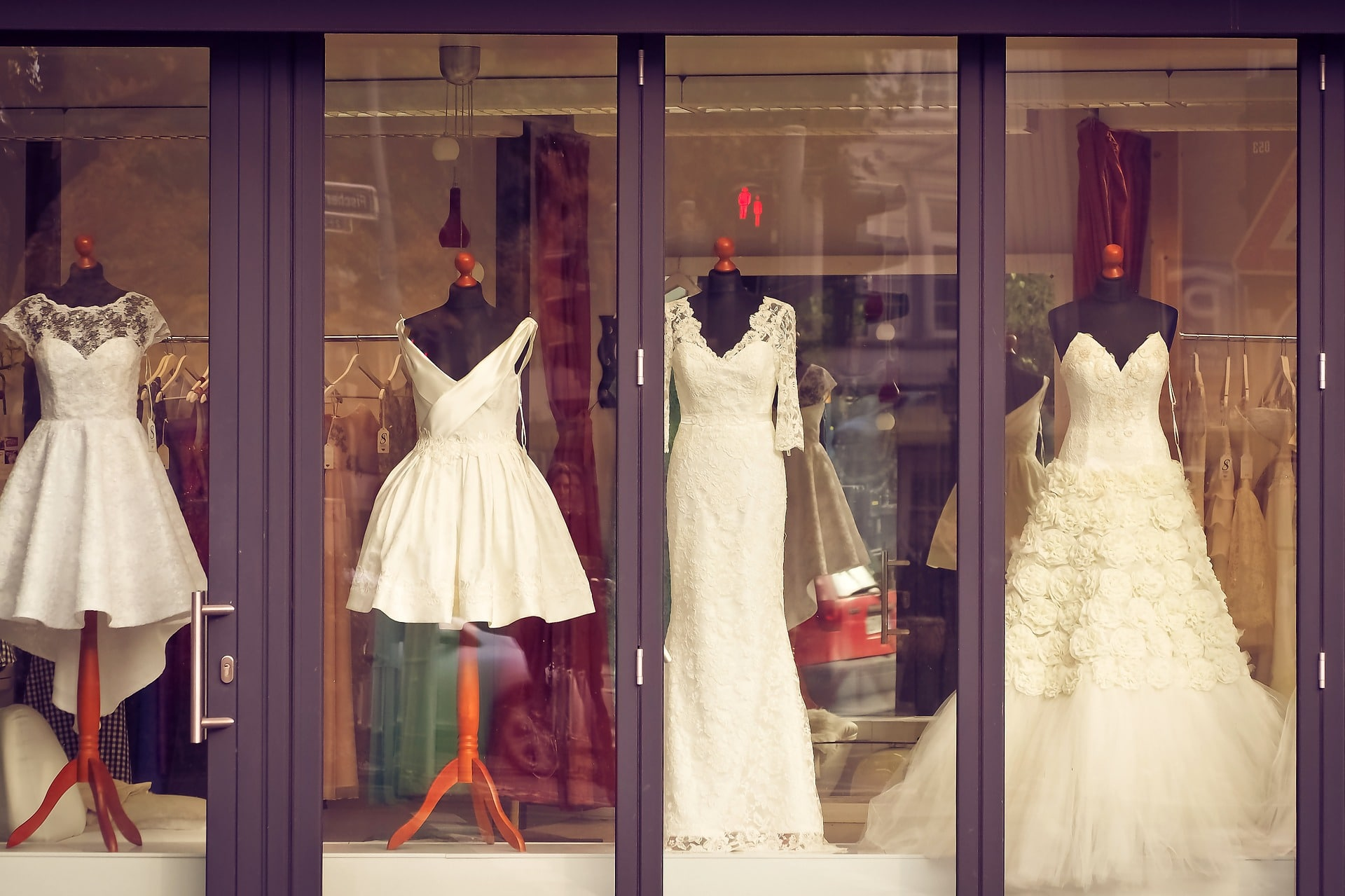 wedding dress in a window display