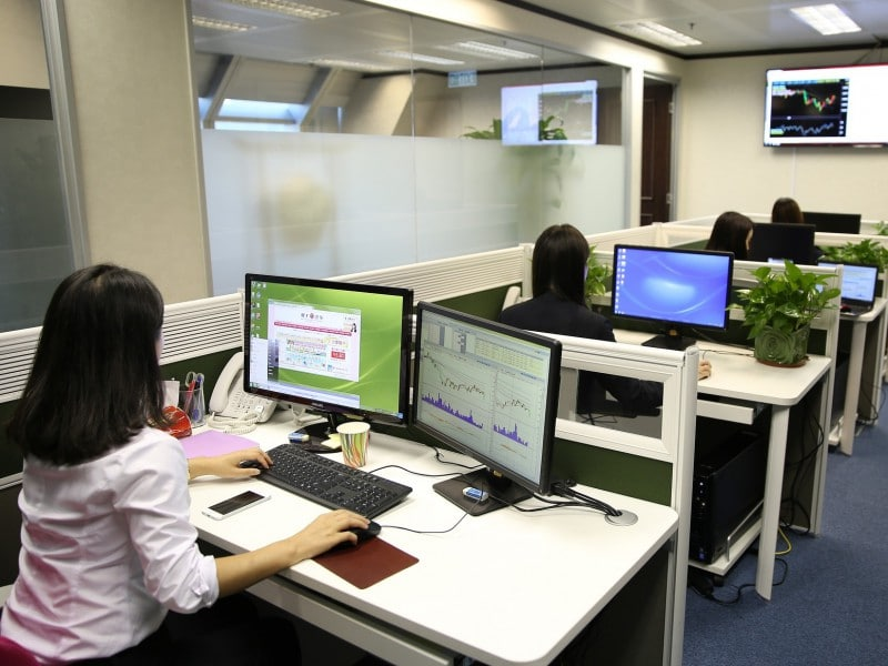 employees working on computers