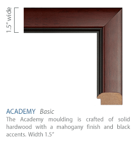 Academy Moulding - mahogany finish with black accents